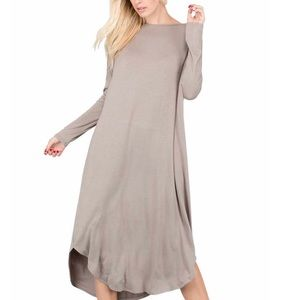 New! Taupe Tan Long Sleeve Maxi Dress With Pockets
